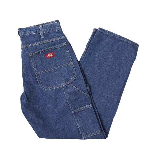 DICKIES - 1993 RELAXED FIT CARPENTER DENIM JEAN - STONE WASHED INDIGO BLUE