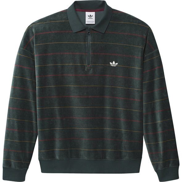 ADIDAS - LONG SLEEVE VELOUR JERSEY - MINERAL GREEN / LEGACY RED / CARDBOARD / OFF WHITE