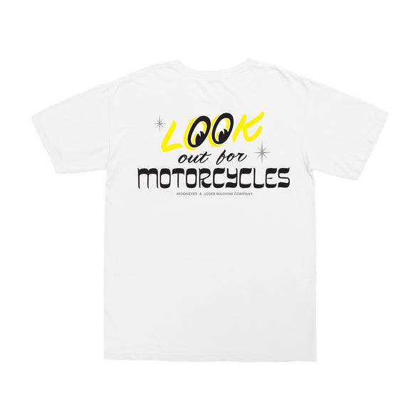 LOSER MACHINE X MOONEYES - LOOK OUT POCKET TEE - WHITE