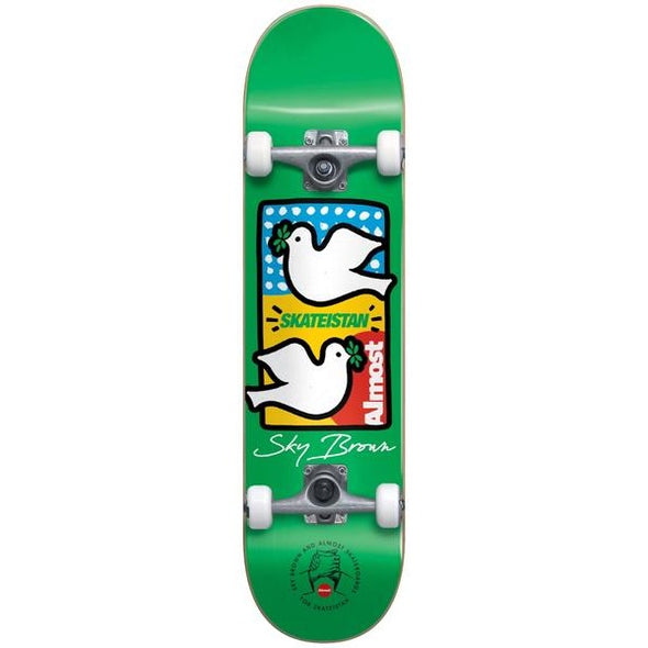 ALMOST - SKY BROWN DOUBLE DOVES SKATEISTAN COMPLETE SKATEBOARD - GREEN - 7.5