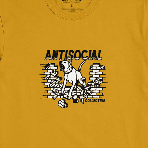 ANTISOCIAL - DOGGO S/S TEE - GOLD - Antisocial Collective