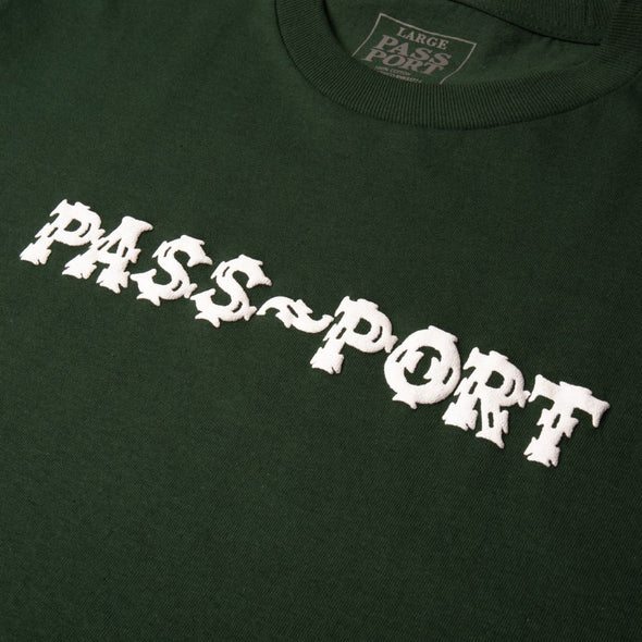"PASS~PORT - ""BARBS"" TEE - FOREST GREEN - Antisocial Collective"