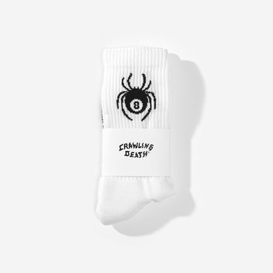 CRAWLING DEATH - SPIDER SOCKS - WHITE - Antisocial Collective