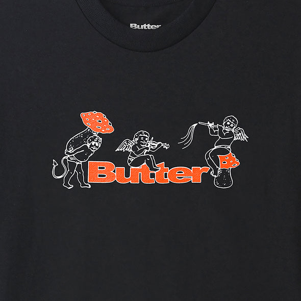 BUTTER GOODS - MUSHROOMS TEE - BLACK - Antisocial Collective