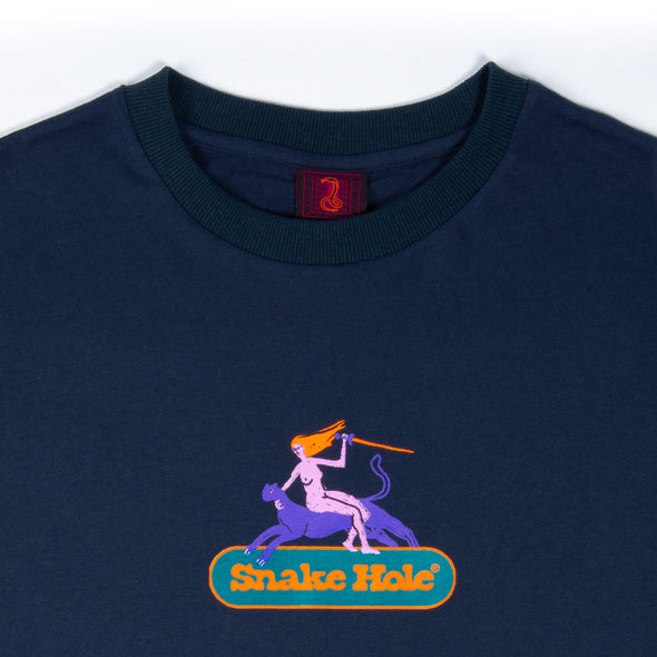 THE SNAKE HOLE - UPRISING LOGO S/S TEE - NAVY