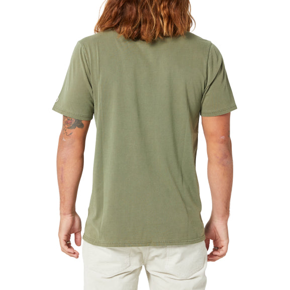 VOLCOM - AUS WASH SOLID S/S TEE - ARMY GREEN COMBO