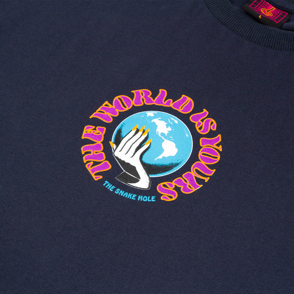 THE SNAKE HOLE - THE WORLD IS YOURS S/S TEE - NAVY