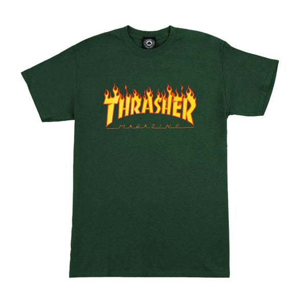 THRASHER - FLAME LOGO T-SHIRT - FOREST GREEN - Antisocial Collective