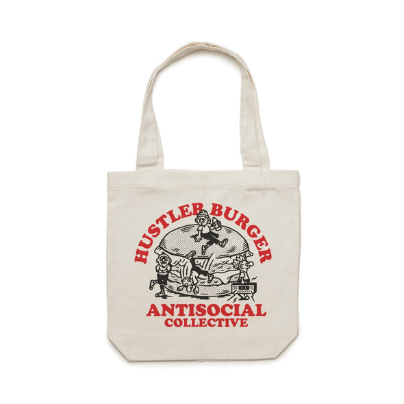 ANTISOCIAL X HUSTLER - ODD COMMUNITY TOTE - CREAM - Antisocial Collective