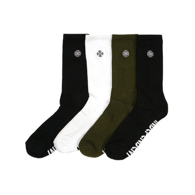 INDEPENDENT - CROSS EMBROIDERY SOCKS 4 PAIRS - ASSORTED