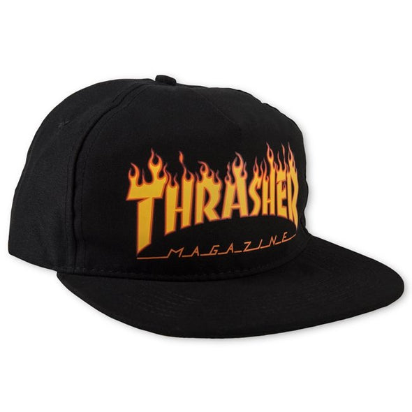 THRASHER - FLAME SNAPBACK - BLACK