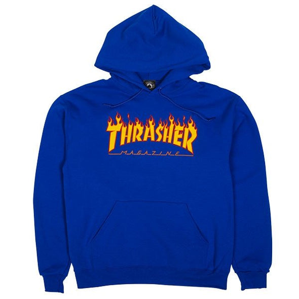 THRASHER - FLAME LOGO HOOD - ROYAL