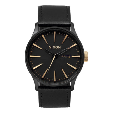 NIXON - SENTRY LEATHER - MATTE BLACK / GOLD