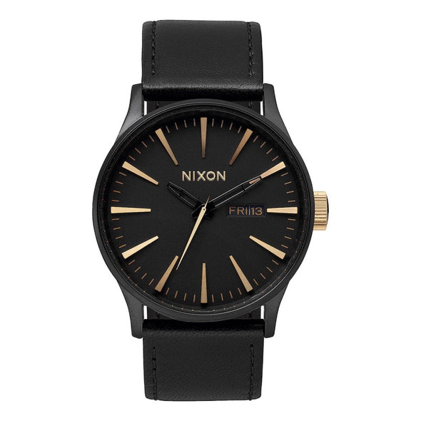 NIXON - SENTRY LEATHER - MATTE BLACK / GOLD - Antisocial Collective