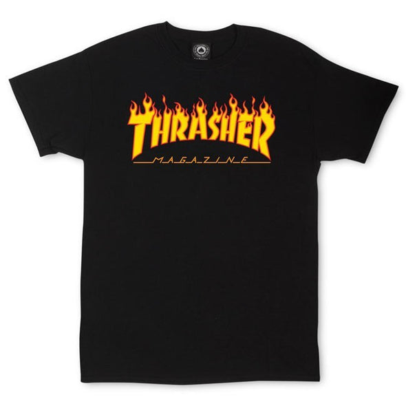 THRASHER - FLAME LOGO T-SHIRT - BLACK - Antisocial Collective