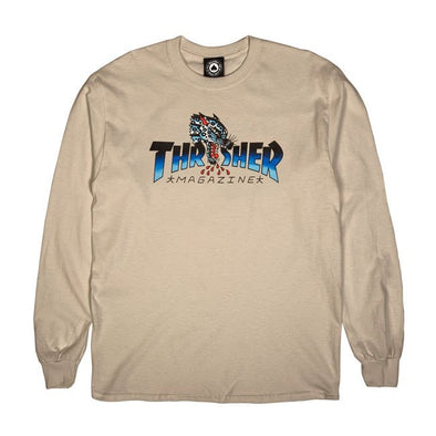 THRASHER - LEOPARD MAG L/S TEE - SAND
