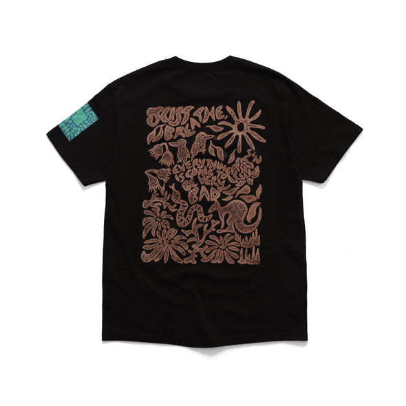SMILE AND WAVE - FLORA + FAUNA T-SHIRT - BLACK