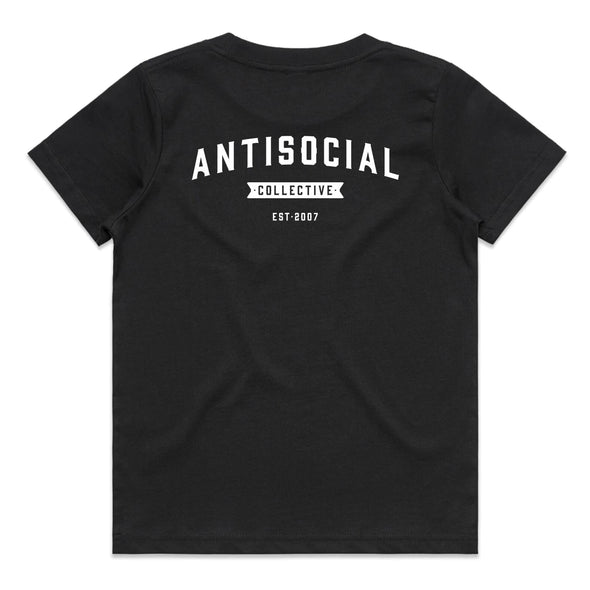 ANTISOCIAL - ASC SHOP LOGO TEE LITTLE YOUTH - BLACK - Antisocial Collective