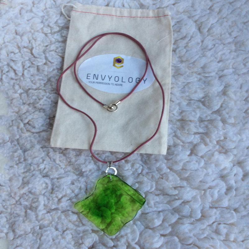 "Green ""sea glass"" resin and leather adjustable necklace"