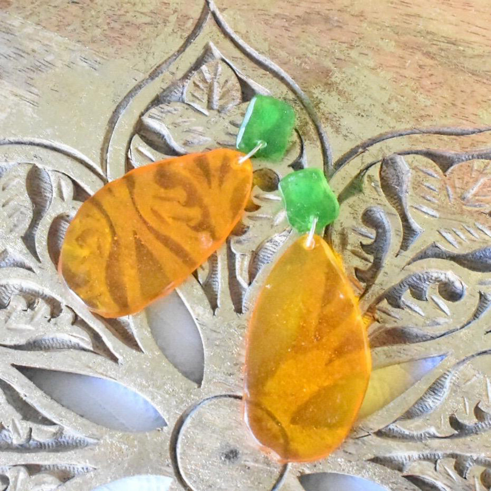 Two-tone Green and Orange Earrings