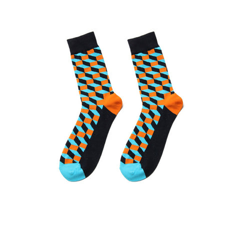 Men's Orange-Green Square Geometric Socks - soxtore
