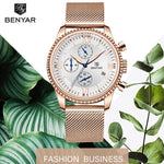 BENYAR New Women Watches Top Luruxy Brand Gold Fashion Ladies Watch Waterproof Mesh Belt Sports Chronograph Relogio Masculino - go-sale-now