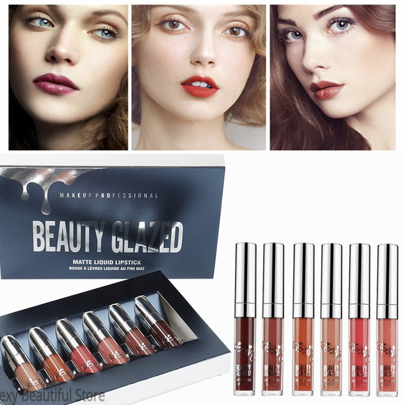 Beauty Glazed 6Pcs/Set Liquid Lipstick Lip Gloss Professional Makeup Matte Lipstick Kit Long Lasting Cosmetics Maquiagem TSLM2 - go-sale-now