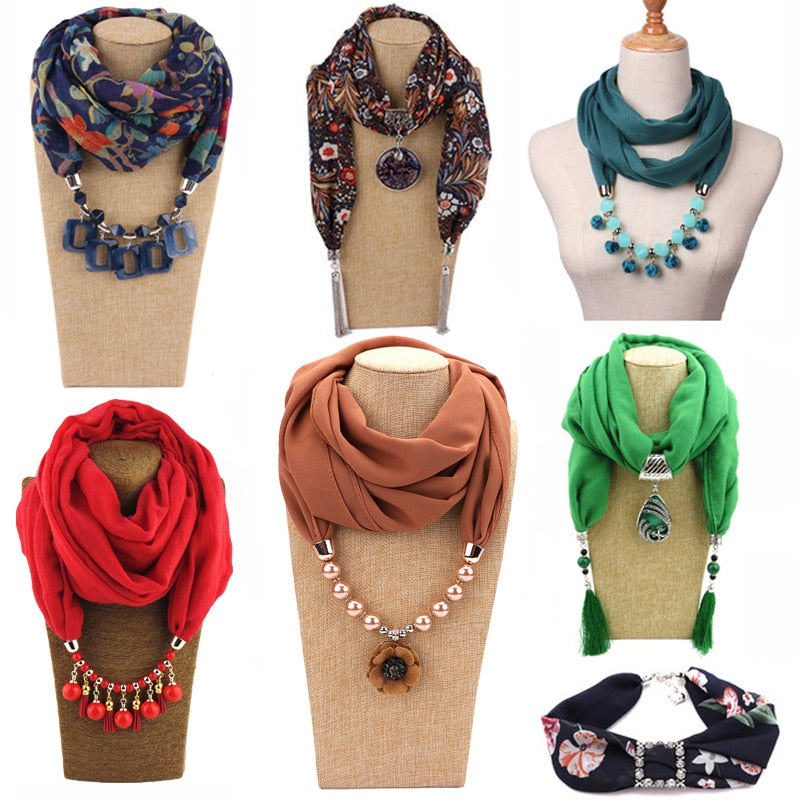 Multi-style Decorative Jewelry Necklace Resin Beads Pendant Scarf Women Foulard Femme Head Scarves Hijab - go-sale-now