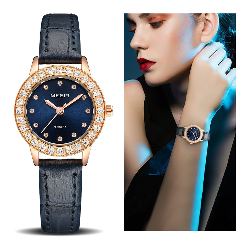 Leather Band Quartz Watch Women 8 MM Ultra-Thin Luxury Ladies Watches Genuine Leather Wristwatch for Woman Female Relogio Megir