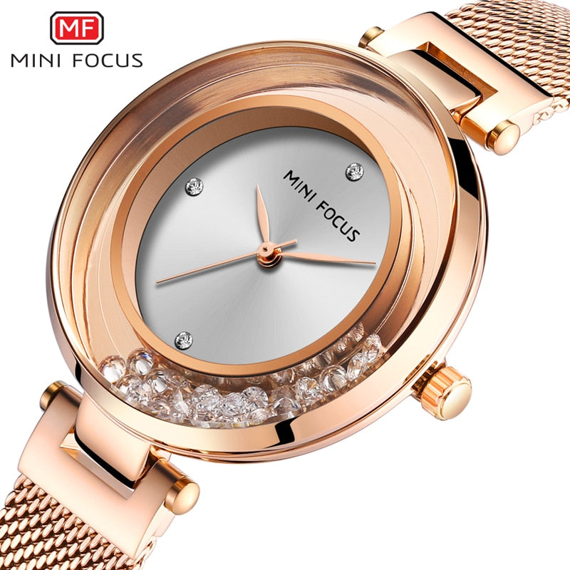 Women's Watches MINI FOCUS Ladies Luxury Watch Brand Crystal Waterproof Fashion Mesh Belt Clock Woman Dress Wristwatches MF0254L - go-sale-now