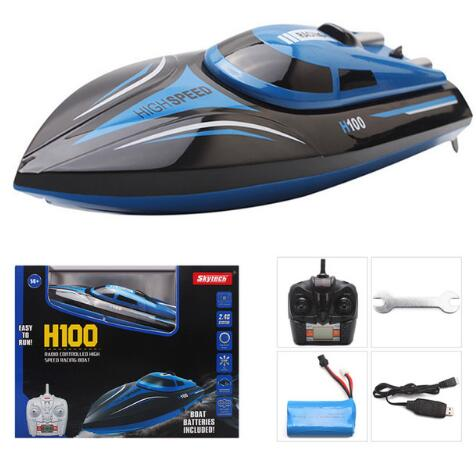 Upgraded 2.4GHz 4CH Remote Control RC High Speed Boat Skytech H100 Racing Speed Boat With LCD Screen Toys Gift For Kids Children - go-sale-now