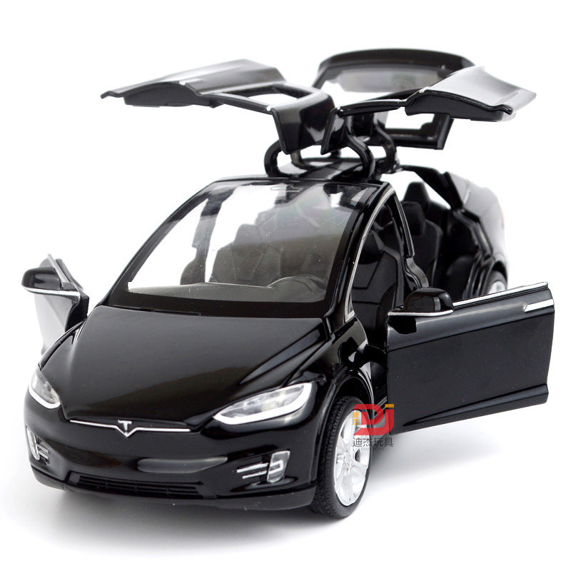 1:32 Alloy Car Model Tesla MODEL X90 Metal Diecast Toy Vehicles Car Pull Back Flashing  Musical Kid's Toys Race Car car toy - go-sale-now