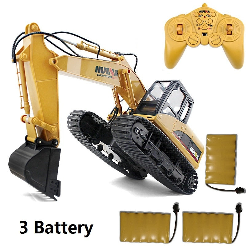 HuiNa Toys 15CH 15 Channel Simulation RC excavator toys Children's Boys RC truck toys gifts RC Engineering car Rock Crawlers - go-sale-now