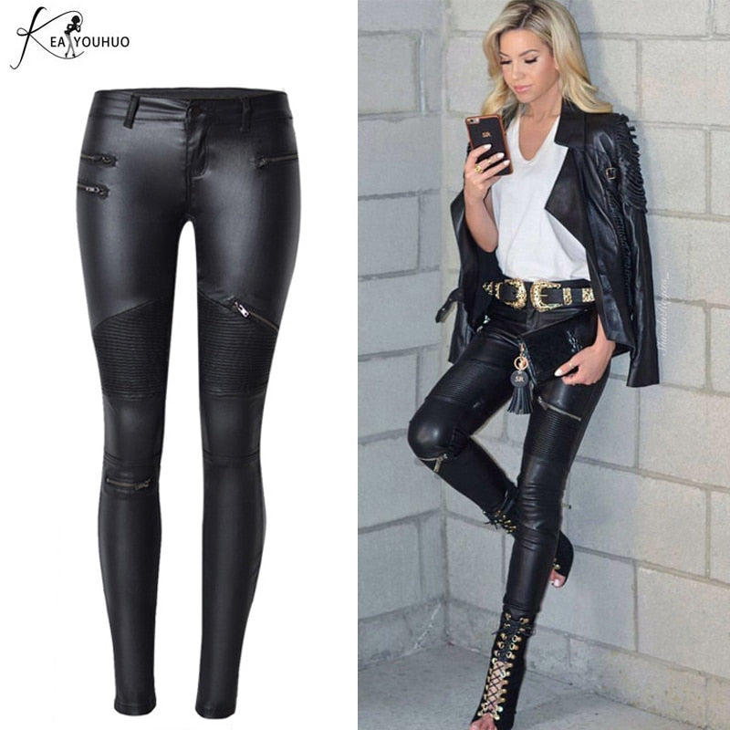 2019 Winter Plus Size Stretch PU Leather Pants For Women High Waist Joggers Womens Trousers Pencil Skinny Waisted Female Pants - go-sale-now