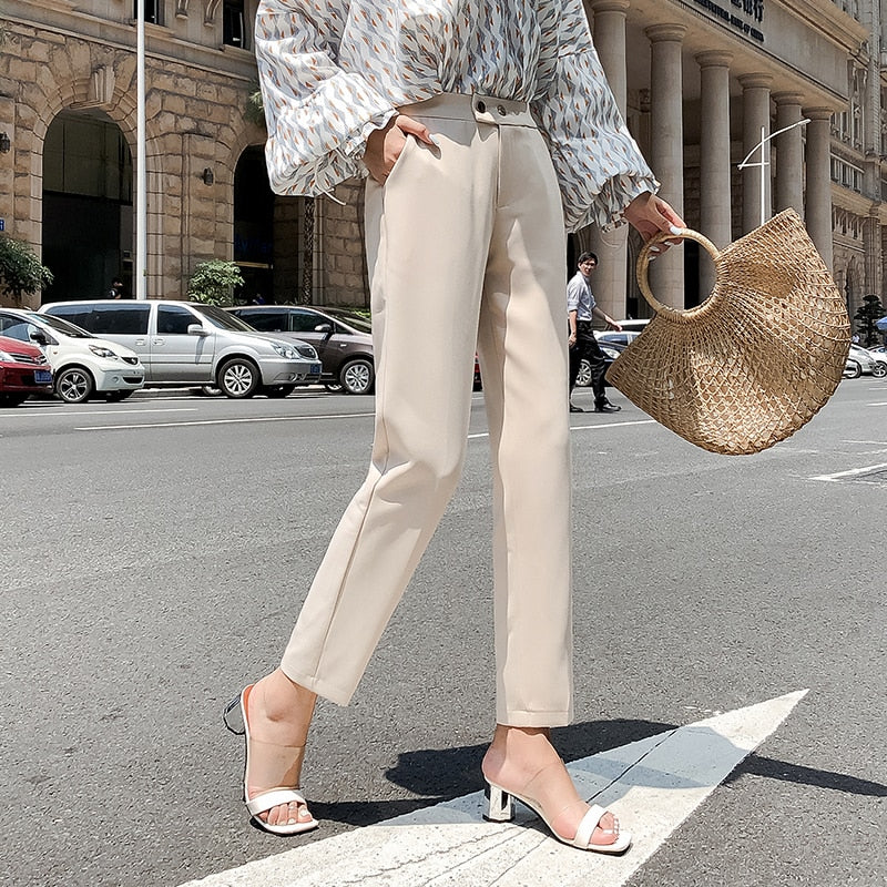 White black suit pants women high waist pants pockets office pants fashion spring autumn women bottoms - go-sale-now