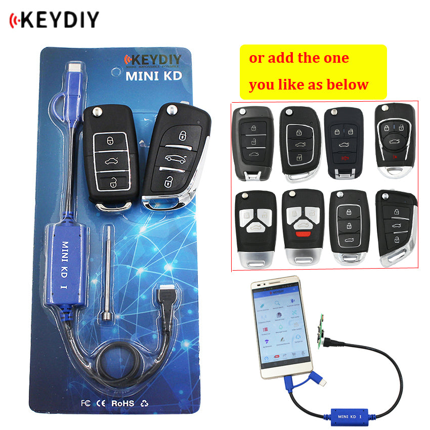 KEYDIY Mini KD Key Generator Remotes Warehouse in Your Phone Support Android Make More Than 1000 Auto Remotes + B series remote