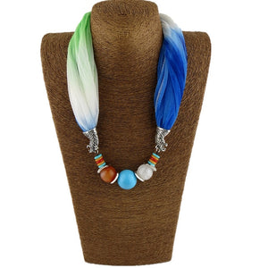 New Pendant Scarf Necklace Bohemia Necklaces For Women Chiffon Scarves Pendant Jewelry Wrap Female Accessories - go-sale-now