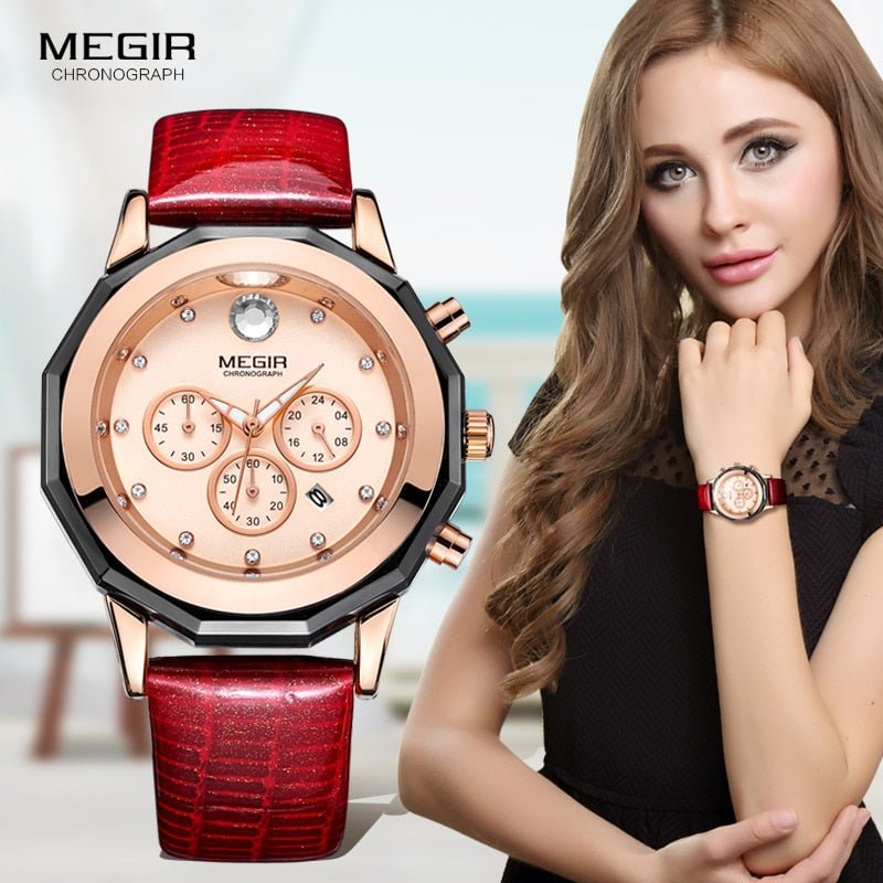 Megir Women's 24-hour Chronograph Red Leather Strap Quartz Watches with Luminous Hands Waterproof Wristwatch for Woman Date 2042 - go-sale-now