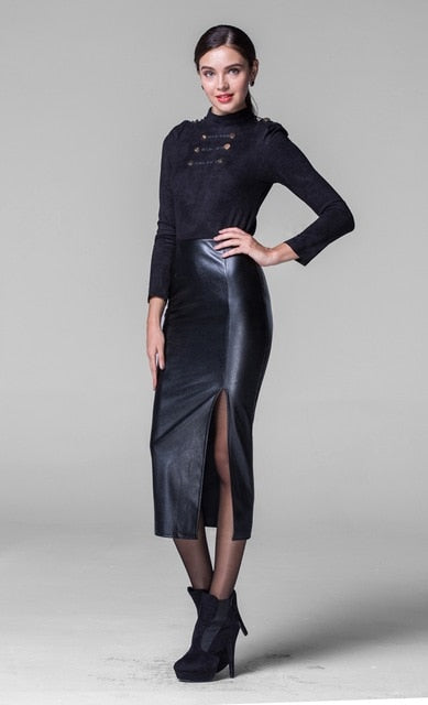 Fashion long leather skirt  slim hp skirt thickening PU long sexy split  step skirt black plus size - go-sale-now
