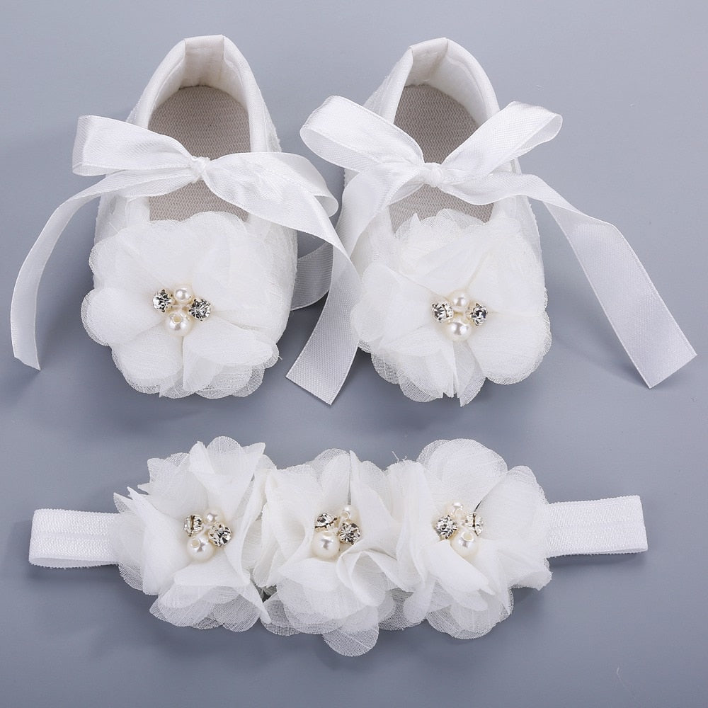 Party Christening Baptism Kids Girls Shoes For Baby Set Rhinestone Girl Baby Shoes First Walker,Baby Moccasins,Ballerina Booties - go-sale-now