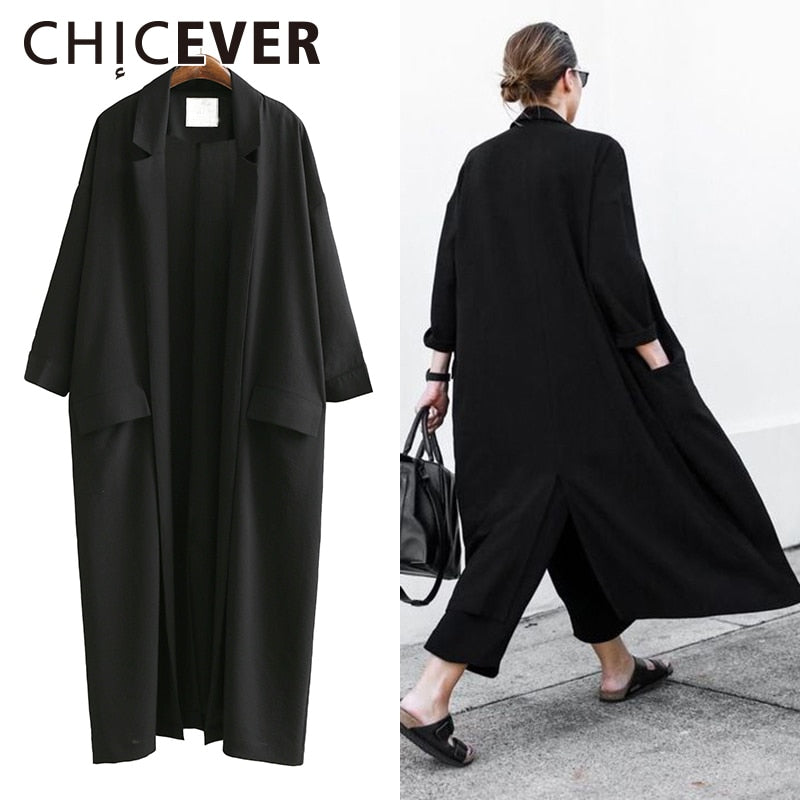 CHICEVER 2017 Summer Loose Women Coats Three Quarter Sleeve Plus Size Black Sunscreen Trench Coat For Women's Clothes Korean - go-sale-now