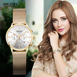 Megir Women's Chronograph Luminous Hands Date Indicator Stainless Steel Mesh Strap Quartz Wrist Watches Lady Rose Gold M2011L-1 - go-sale-now