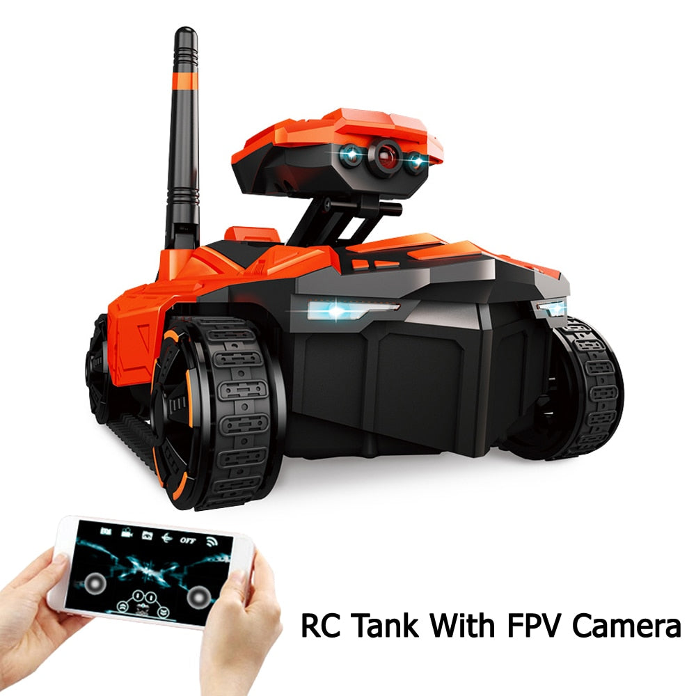 RC Tank with HD Camera ATTOP YD-211 Wifi FPV 0.3MP Camera App Remote Control Tank RC Toy Phone Controlled Robot - go-sale-now