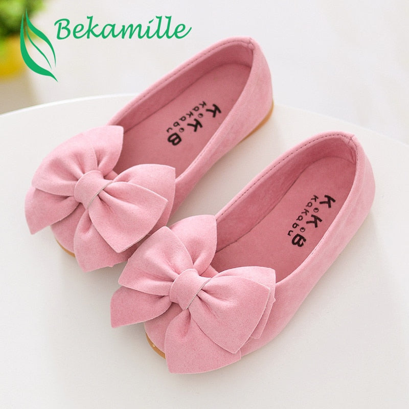 Girls Bow leather shoes Spring Autumn Children princess shoes student shoes 2017 New Kids girls baby leisure Sneakers - go-sale-now