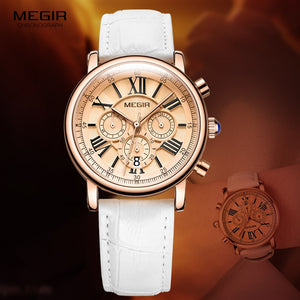 Megir Woman's Chronograph Quartz Watch with 24 Hours and Calendar Display White Leather Strap Wrist Stopwatches for Ladies 2058L - go-sale-now