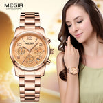 Megir Woman's Chronograph Quartz Watch with Gold Stainless Steel Bracelete 24 Hours Calendar Display Wristwatch for Ladies 2057L - go-sale-now