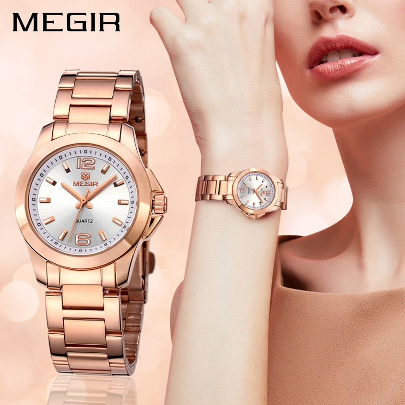 MEGIR Fashion Women Watches Relogio Feminino Brand Luxury Lovers Quartz Wrist Watch Clock Women Montre Femme Ladies Watch 5006 - go-sale-now