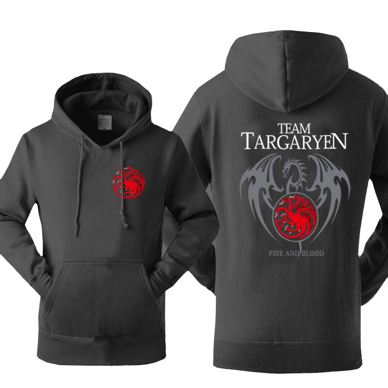 Hot Sale Hoodies Sweatshirts 2018 Winter Fleece Autumn Hoody Print Game of Thrones Team Targaryen Fire & Blood Sweatshirt Kpop - go-sale-now