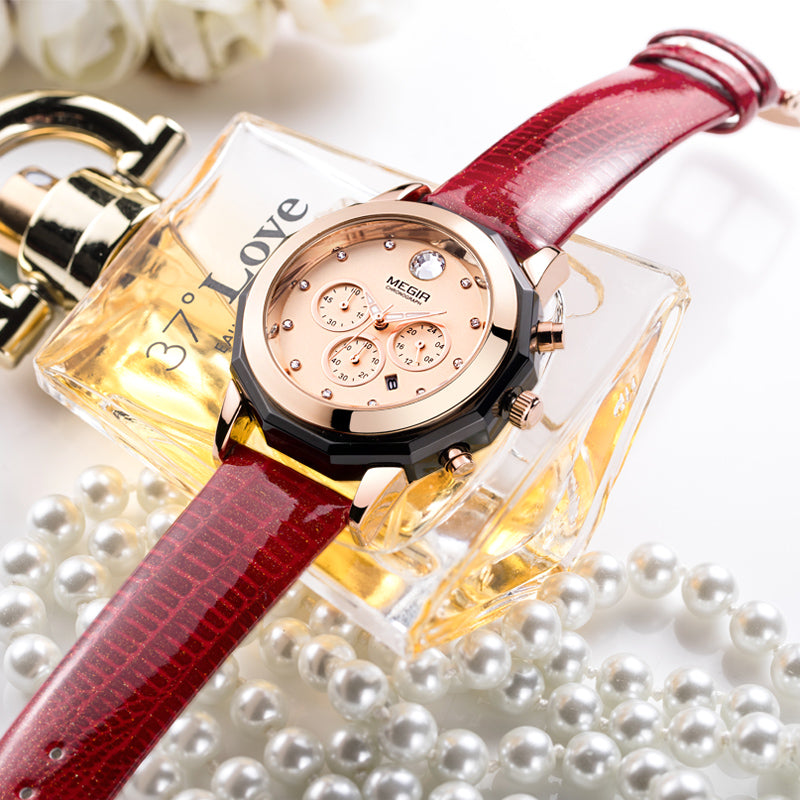 2018 MEGIR Top Brand Woman Watch Female Leather Quartz Wristwatch Lady Fashion Waterproof Luminous Watches Relogio Feminino - go-sale-now