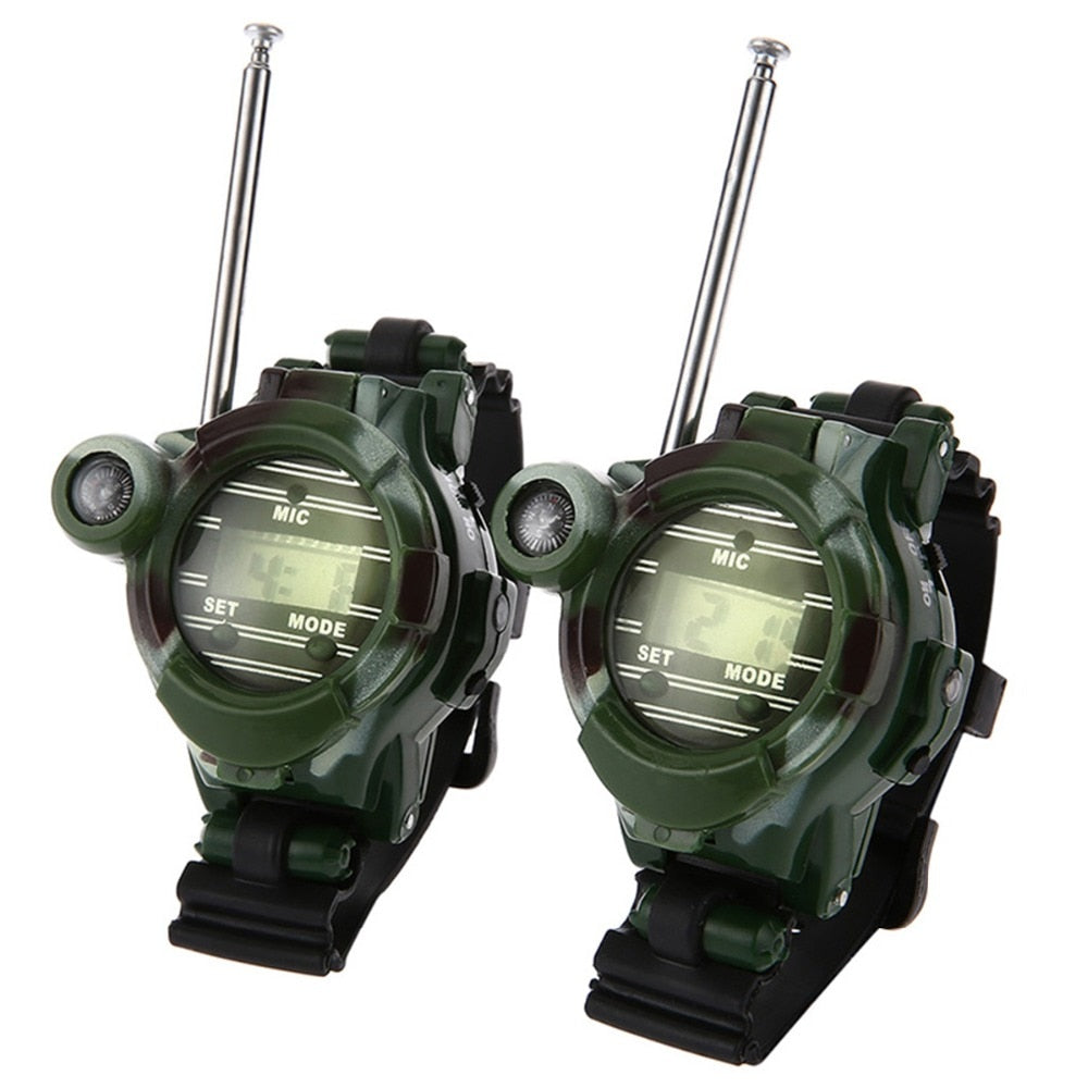 Children Education Toys 2PCS Toy Walkie Talkies Watches Walkie Talkie 7 in 1 Children Watch Radio Outdoor Interphone Toy Outdoor - go-sale-now